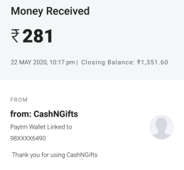 cashngifts payment proof