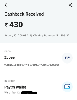 zupee payment proof