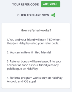 halaplay refer code