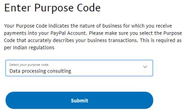 paypal purpose code