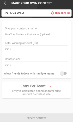 create dream11 contest