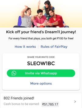 dream11 invite code today