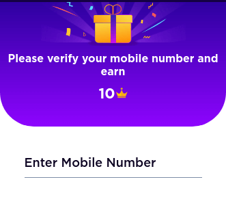 enter and verify your mobile number
