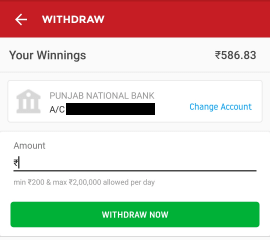 dream11 withdrawal