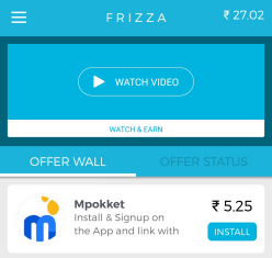 frizza app pays for watching videos