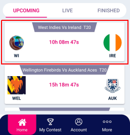 select an upcoming match