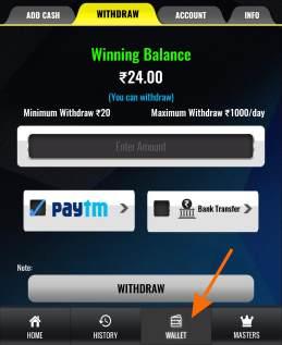 withdraw winnings