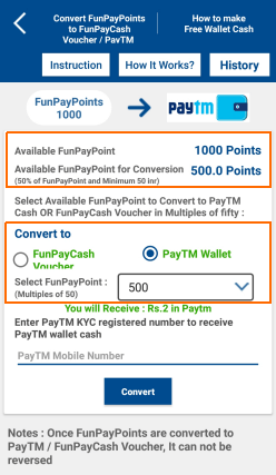 convert points to paytm cash