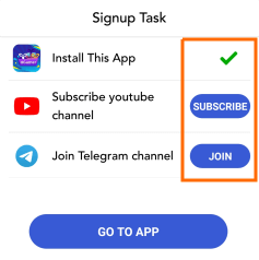 sign up tasks