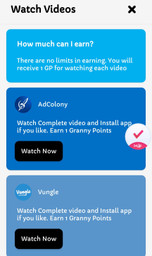 watch videos and earn granny points