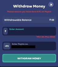 paytm withdrawal
