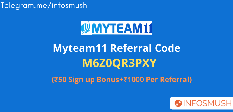 MyTeam11 Referral Code: M6Z0QR3PXY|Free ₹1000 Deposit Cash[Proof]