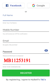 mybat11 referral code