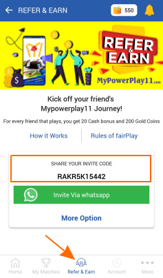 mypowerplay11 referral code