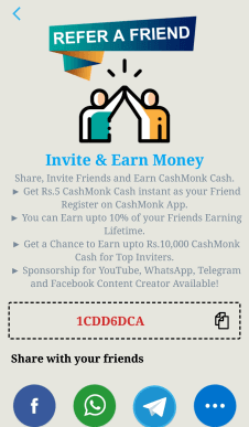 cashmonk refer and earn