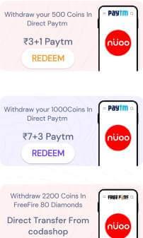 nuoo rewardz withdraw Paytm cash