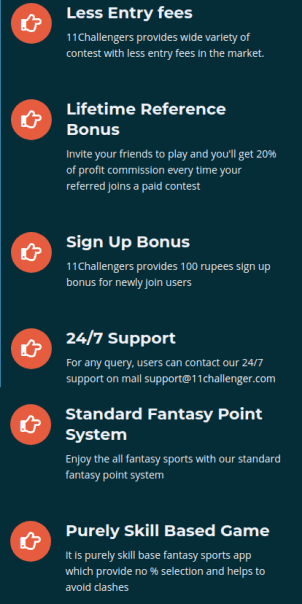 Features of 11 challengers fantasy app