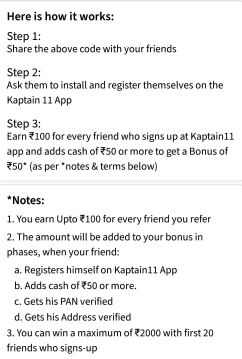 kaptain 11 refer and earn details