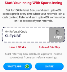 sports inning referral code