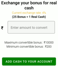 convert cash bonus into real cash